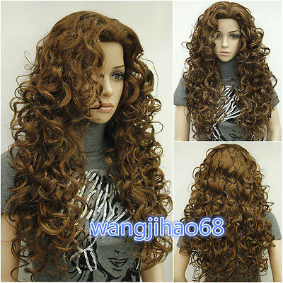 New Ladies fashion Long Curly Brown Natural Hair Women's Wigs + wig cap