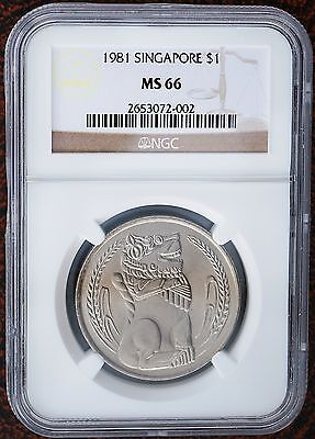 1981 Singapore Dollar KM# 6 BU Coin NGC MS66