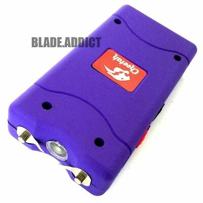 PURPLE 490 Million Stun Gun Rechargeable w/ LED light Self Defense + Taser case