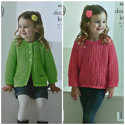 KNITTING PATTERN Childrens Long Sleeve Lacy Cardigan & Jumper DK King Cole 4219