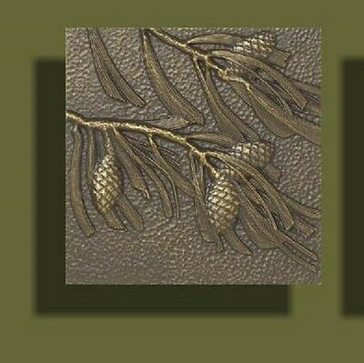 """Arts and Crafts Bronze Tone Pinecone Tile by Whitehall 8"""" x 8"""""""