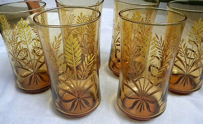 6 Vintage Libbey iced tea or water glasses amber color with golden wheat w/bow