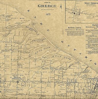 Greece Uptonville Charlotte Barnard NY 1872  Map with Homeowners Names Shown
