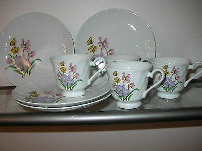 Beautiful Set of 4 Cups & 4 Snack Plates~~Marked JAPAN~~Vintage~~Mint !!