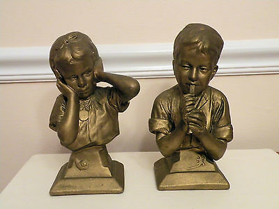 Vintage Esco Chalkware Busts-Boy with Flute, Girl w/Ears Covered E Villanis SIGN