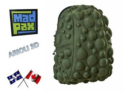 "MADPAX - SCHOOL BAG BACKPACK - BUBBLE COMMANDO FULL SIZE GREEN ARMY 18""x15"" NEW"
