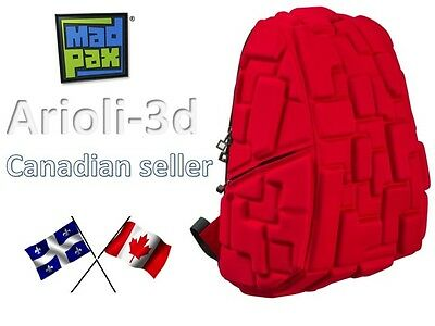 Bag Madpax - School Backpack - Blok Pax - Full Size - 4 Alarm Fire Red - New