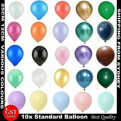 10x Latex Standard 25cm Helium Balloons Balloon Party Wedding Birthday 14 Colour