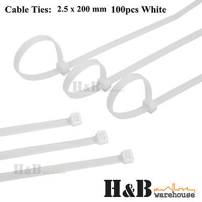 100 Pcs Cable Tie High Quality White 2.5x 200 mm Nylon Cable Ties Zip  T0125
