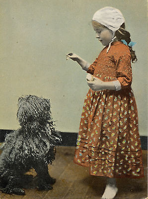 Hungarian Puli And Little Girl Charming Dog Greetings Note Card