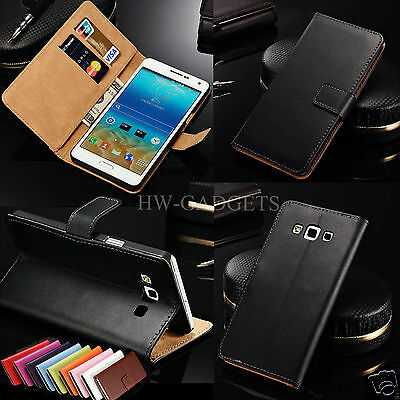 Genuine Real Leather Slim Wallet Flip Stand Case Cover for Samsung Galaxy A3