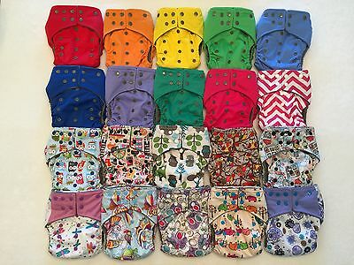 15 Happy Flute One Size All-In-One Charcoal Bamboo Cloth Diaper. Fit 10-40lb.