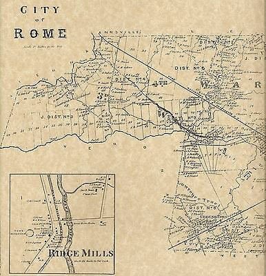 Rome Lee Center Ridge Mills Lake Delta NY 1874  Map with Homeowners Names Shown