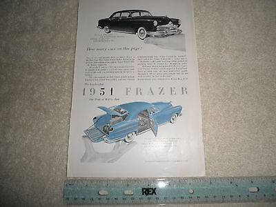 Vintage 1950 Frazer Auto Advertisement Very Good Condition