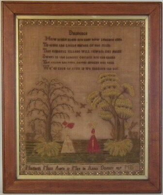 Antique Sampler, 1829 'Diligence' Sampler by Margaret Main