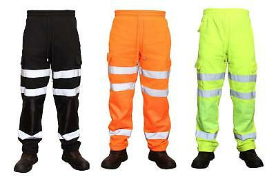 Hi Viz High Visibility Combat Work Wear Jogging Bottoms Trouser Joggers  S - 3XL