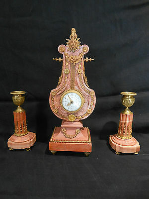 Louis Xvi Style Gilt Bronze & Pink Marble Lyre-Form Clock Set