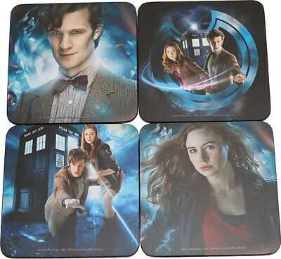 DOCTOR WHO COASTERS 4-PACK 11th Dr Amy Pond Tardis NEW matt smith karen gillan