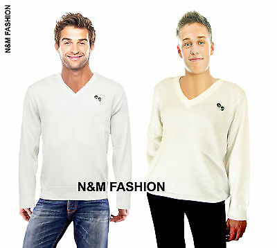 New Mens V-Neck Knitted Sweater White Lawn Bowls Bowling Jumper Top