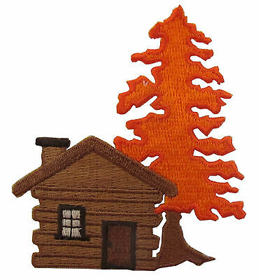 """#4286 3""""x3-1/4"""" Cabin,Log house w/Maple Tree Embroidery Iron On Applique Patch"""