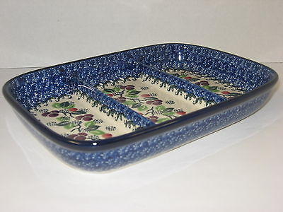 Polish Pottery Divided Dish CA393-1418 Burgundy Berries
