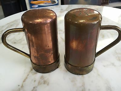 Copper W Brass Vintage Salt Pepper Shakers