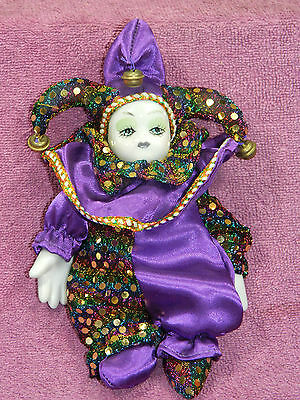 """CERAMIC 7"""" TALL JESTER CLOWN OUTFITTED with MOVABLE ARMS & LEGS!!"""