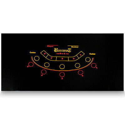"Black Baccarat Casino Table Felt Layout 72"" X 36"" 5 Player Layout"