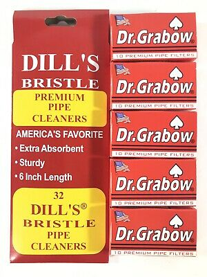 Dill's Dills Bristle Cotton Pipe Cleaners 32ct & Dr Grabow Pipe Filters 50ct NEW
