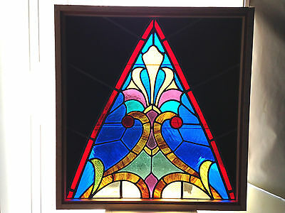Antique Vtg Church Stained Glass Window Architectural Salvage Gothic Arch W276