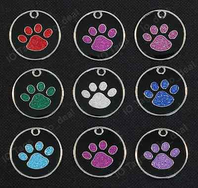 Round Glitter Paw Pet ID Tag FREE Custom Engraved Dog & Cat Personalized 1-1/16""