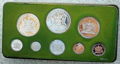 1975  Trinidad and Tobago 8 Coin Proof Set Including 2 Sterling Silver Coins