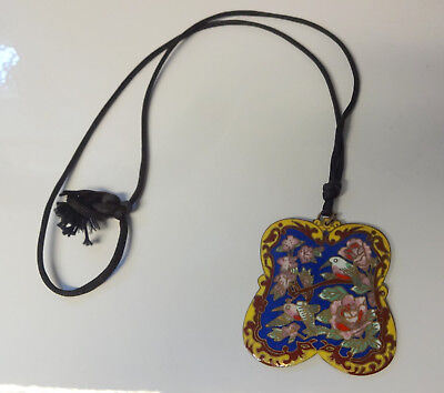 Antique Chinese Cloisonne Enamel Famille Rose Bird Chunky Pendant Necklace