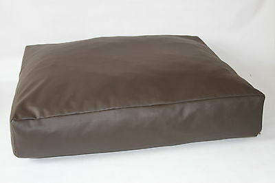 "Faux Leather Dog Bed 8"" Deep Extra Large Designer Dog Bed with Removable Inner"