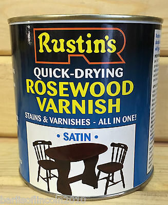 Rustins Rosewood Varnish/Stain/Quick-Dry/Wood/Dye/Satin/Woodwork/Colour/ 1 Litre