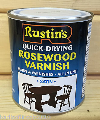 Rustins Rosewood Varnish/Stain/Quick-Dry/Wood/Dye/Satin/Woodwork/Colour/ 500ML