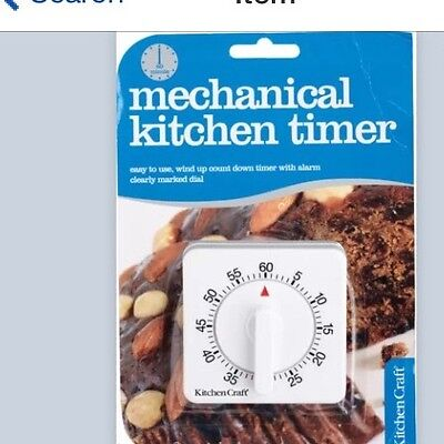 Kitchen Craft Wind Up Clockwork White 60 MinuteTimer