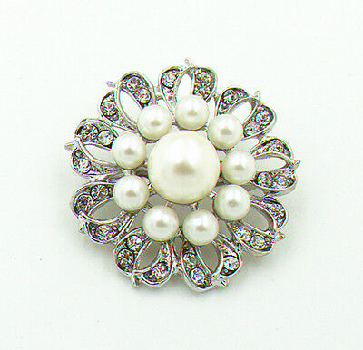 Silver /& Ivory White Pearls Flower Prom Bridal Wedding Corsage Brooch Pin BR270
