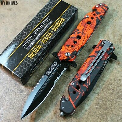 """8"""" Hunters Camo Spring Assisted Open Rescue Stiletto Pocket Knife TF-716RC zix"""