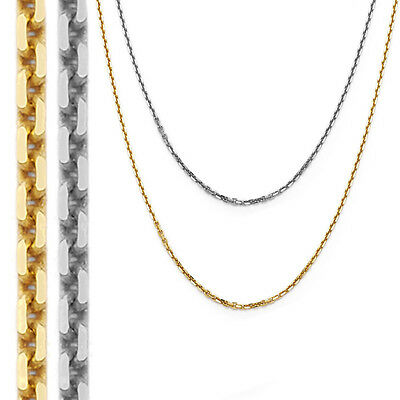 0.92mm 14k Solid Yellow Or White Gold Thin Cable Link Chain Necklace 1133BC