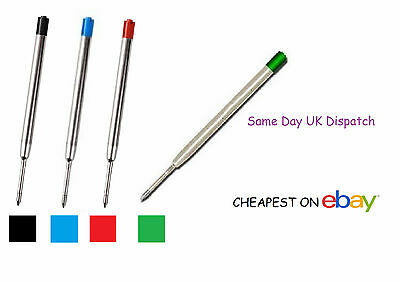 PARKER COMPATIBLE BALL POINT PEN REFILL INK - Medium Fine - BLACK BLUE GREEN RED