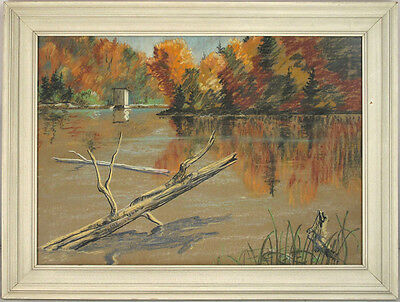 Raymond R. Picard(b.1925) Canadian Montreal Quebec Vintage Pastel Landscape qqoo