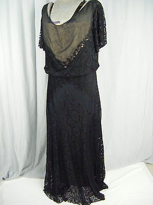 """Org.Leonie Creation""Vtg 20s Black Illusion Lace/Silk Layers Dress-Bust 42/M-L"