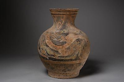 Ancient Chinese Han Dynasty Pottery Terracotta Hu Vase Vessel - 206 BC