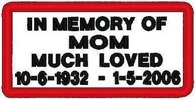 Custom Embroidered Motorcycle Memory  Patch, 50 Patches
