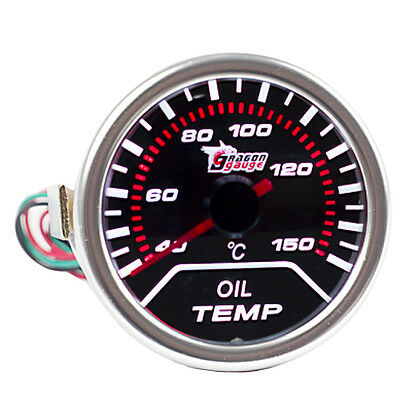 "12V Car Universal Pointer Smoke Tint Len 2"" 52mm Oil Temp Gauge Dials Celsius"