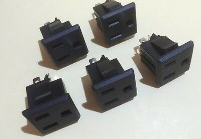 5 Pcs Panel Mount Receptacle 15A 120V Nema 5-15R Great For Projects!  110v 115v