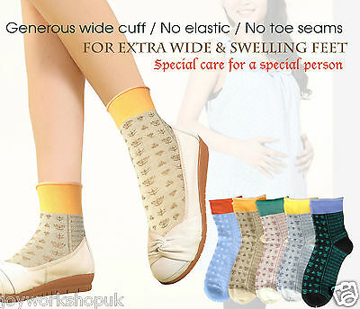5 Pairs Ladies Seam Free Maternity Socks Extra Wide Shoes /Swelling Feet size6-8