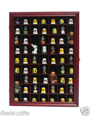 59 Thimble Display Case Shadow Box Cabinet, hardwood, with Glass Door - TC01:CHE