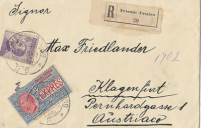 Stamp Italy on 1920 cover sent registered express Triesto Central to Austria